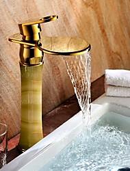 cheap -Bathroom Sink Faucet - Waterfall / Widespread Ti-PVD Centerset Single Handle One HoleBath Taps / Brass