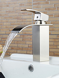 cheap -Bathroom Sink Faucet - Waterfall Nickel Brushed Centerset Single Handle One HoleBath Taps / Brass