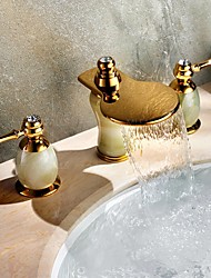 cheap -Art Deco/Retro Widespread Waterfall Widespread Brass Valve Two Handles Three Holes Ti-PVD, Bathroom Sink Faucet