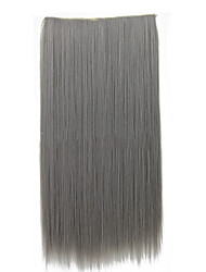 cheap -26 Inch Clip in Synthetic Gray Color Straight Hair Extensions with 5 Clips