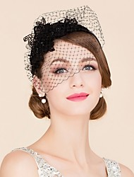 cheap -Tulle Rhinestone Polyester Fascinators Birdcage Veils Headpiece