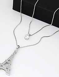 cheap -Women's Cubic Zirconia tiny diamond Pendant Necklace Layered Necklace Long Necklace Long Tower Eiffel Tower Ladies Vintage Double-layer Fashion Zircon Cubic Zirconia Rhinestone Silver Necklace Jewelry