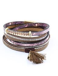 cheap -Women's Wrap Bracelet Leather Bracelet Tassel Ladies Luxury Tassel Vintage Bohemian Leather Bracelet Jewelry Gray / Purple For Party Daily Casual Sports / Imitation Diamond / Rhinestone