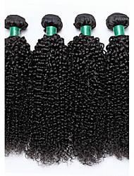 Недорогие -4 Связки Бразильские волосы Kinky Curly Не подвергавшиеся окрашиванию Человека ткет Волосы Ткет человеческих волос Расширения человеческих волос / 10A / Кудрявый вьющиеся