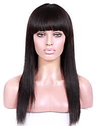cheap -Human Hair Unprocessed Human Hair Machine Made U Part Glueless Full Lace Wig style Brazilian Hair Straight Yaki Wig 130% 150% 180% Density 8-26 inch with Baby Hair Natural Hairline African American