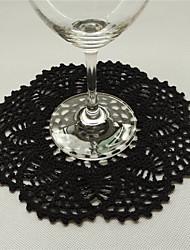 cheap -Retro Round Unique Black Cotton Tablemat Doilies With Flowers Coaster Placemats Vintage Wedding Decoration
