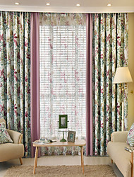 cheap -Two Panels European Country Patchwork Polyester Curtain Draps Floral Pattern