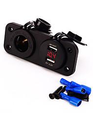 cheap -12V Charger Plug Motorcycle Car Socket And 4.2A dual USB Voltmeter Socket