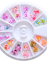 cheap -12 Colors 6mm Resin Rose Flowers 3D Nail Art Studs Tips Glitter DIY Wheel Floral Design Decorations For Nails