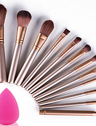 abordables -Professionnel Pinceaux à maquillage ensembles de brosses 12 pcs Portable Voyage Economique Professionnel Couvrant Bois Pinceaux de Maquillage pour Set de Pinceaux de Maquillage