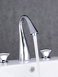 cheap -Contemporary Vessel Two Handles One Hole Chrome, Bathroom Sink Faucet