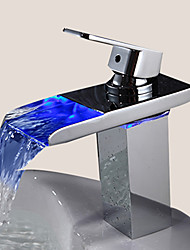 cheap -Sprinkle® Sink Faucets , Contemporary with Chrome Single Handle One Hole , Feature for LED