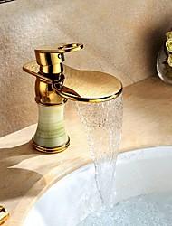 cheap -Art Deco/Retro Centerset Waterfall Ceramic Valve Single Handle One Hole Ti-PVD, Bathroom Sink Faucet