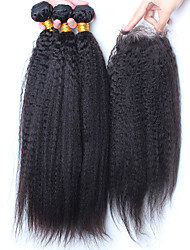 cheap -Malaysian Hair Straight Virgin Human Hair Hair Weft with Closure Human Hair Weaves Human Hair Extensions