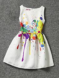 baratos -Infantil Pouco Para Meninas Vestido Estampado Branco Sem Manga Floral Vestidos Verão