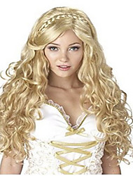 cheap -Cosplay Costume Wig Synthetic Wig Cosplay Wig Body Wave Wavy Side Part Braid Wig Blonde Long Blonde Synthetic Hair Women's With Ponytail Blonde