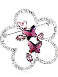 cheap -Women's Brooches - Crystal Butterfly, Animal Party Brooch Black / Purple / Yellow For Wedding / Party