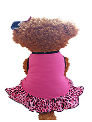 cheap -Dog Dress Dog Clothes Rose Fuchsia / Black Cotton Costume For Summer Women's