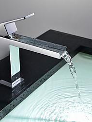 cheap -Bathroom Sink Faucet - Waterfall Chrome Centerset Single Handle One HoleBath Taps