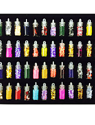 cheap -48 Color Glass Bottle Glitter Glitter Hex Slice Caviar 3D Charm DIY Nail Art Decoration Accessories