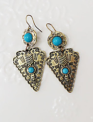 cheap -Women's Turquoise Drop Earrings Cross Personalized Vintage Fashion western style Resin Turquoise Earrings Jewelry Silver / Bronze For Party Daily Casual