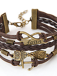 cheap -Women's Friendship Bracelet Wrap Bracelet Layered woven Owl Anchor Infinity Personalized Vintage European Inspirational Multi Layer Alloy Bracelet Jewelry Coffee For Christmas Gifts Daily Casual