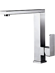 cheap -Kitchen faucet - Single Handle One Hole Nickel Brushed Tall / ­High Arc Vessel Contemporary Kitchen Taps