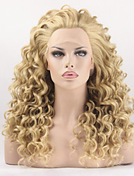 cheap -Synthetic Lace Front Wig Curly Curly Lace Front Wig Blonde Blonde Synthetic Hair Women's Blonde