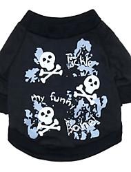 cheap -Cat Dog Costume Shirt / T-Shirt Dog Clothes Skull Black Cotton Costume For Spring &  Fall Summer Men's Women's Cosplay Fashion Halloween