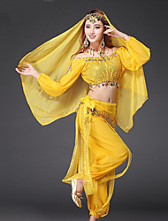 cheap -Belly Dance Outfits Women's Performance Chiffon Sequin / Gold Coin Long Sleeve Dropped Top / Pants / Belt