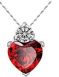 cheap -Women's Diamond Cubic Zirconia Pendant Necklace Solitaire faceter Heart Love Ladies Fashion Zircon Cubic Zirconia Alloy Purple Watermelon Necklace Jewelry For Thank You Daily Casual Work Valentine