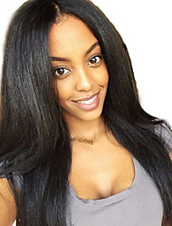 cheap -Virgin Human Hair Human Hair Glueless Full Lace Full Lace Lace Front Wig Middle Part Free Part style Brazilian Hair Yaki Straight Natural Brown Natural Black Wig 150% Density 10-26 inch with Baby