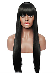 cheap -Human Hair Wig Straight Straight Capless Dark Black
