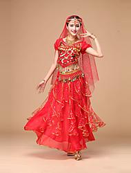 cheap -Belly Dance Outfits Women's Performance Chiffon Sequin / Ruffles Short Sleeves High Top