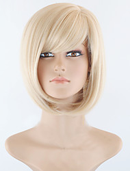 cheap -Synthetic Wig Straight Straight Bob Short Bob With Bangs Wig Blonde Short Blonde Synthetic Hair Women's Side Part Blonde