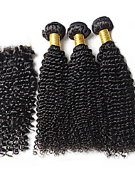 cheap -3pcs lot brazilian virgin hair 1b kinky curly hair with 1pcs lace closure human hair curly deep wave