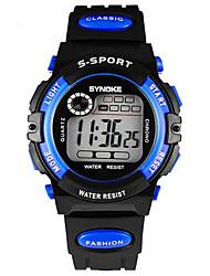 Недорогие -SYNOKE Дети Наручные часы Цифровой LCD Календарь Секундомер Защита от влаги тревога Светящийся Pезина Группа Черный