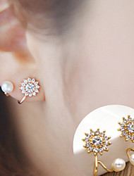 cheap -Women's Cubic Zirconia Pearl tiny diamond Stud Earrings Flower Sunflower Ladies Simple Style Fashion Elegant Earrings Jewelry Silver / Golden For Daily Casual 2pcs