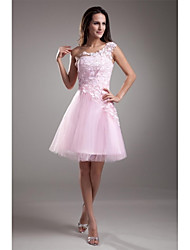 cheap -A-Line Floral Pink Graduation Cocktail Party Dress One Shoulder Sleeveless Short / Mini Lace Over Tulle with Appliques 2020