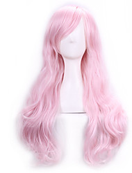 cheap -Cosplay Costume Wig Synthetic Wig Cosplay Wig Curly Kardashian Curly With Bangs Wig Pink Long Pink Synthetic Hair Women's Side Part Pink
