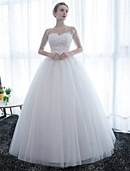 cheap -Ball Gown Wedding Dresses Scoop Neck Floor Length Satin Lace Over Tulle Half Sleeve Simple Backless with Lace 2020 / Illusion Sleeve