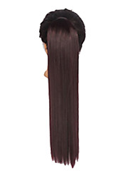 cheap -factory wholeslaes synthetic 22 inch long straight ribbon ponytail hairpiece medium brown color hair
