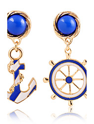 cheap -Fashion Texture Blue Navy Wind Anchor Exaggerated Personality Asymmetric Earrings