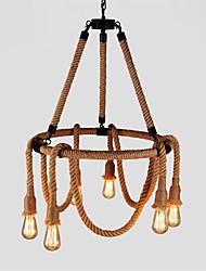 abordables -Lustre d'ambiance cxylight a 6 lumieres en corde de chanvre - style mini, ampoule 110-120v / 220-240v non comprise / 15-20㎡ / e26 / e27