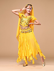 cheap -Shall We Belly Dance Outfits Women Performance Chiffon Sequins 3 Pieces Dance Costumes
