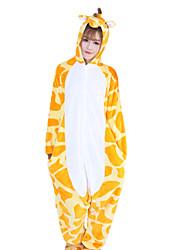 cheap -Adults' Kigurumi Pajamas Giraffe Animal Onesie Pajamas Coral fleece Orange Cosplay For Men and Women Animal Sleepwear Cartoon Festival / Holiday Costumes