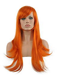 cheap -Synthetic Wig Straight Straight Wig Long Orange Synthetic Hair Women's Red