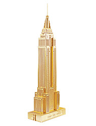 cheap -Famous buildings Empire State Building 3D Puzzle Wooden Puzzle Metal Puzzle Model Building Kit Wooden Model DIY Metal Kid's Adults' Toy Gift