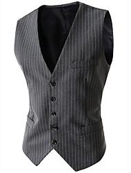 cheap -Men's Daily / Work Business Regular Vest, Striped Sleeveless Cotton / Acrylic / Polyester Black / Navy Blue / Gray / Business Formal / Slim