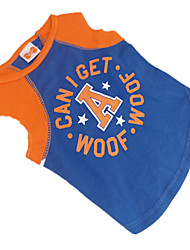 cheap -Dog Shirt / T-Shirt Dog Clothes Stars Letter & Number Blue-Yellow Cotton Costume For Summer